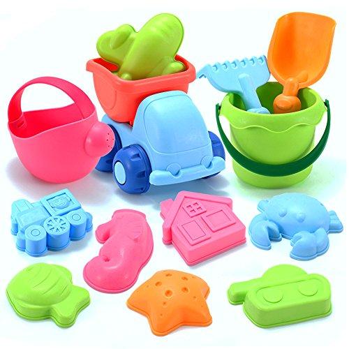 YIMORE Sand Beach Toys Set in Mesh Bag, Sandformen für Kinder, verschiedene Farben (13 Stück)
