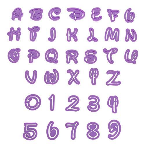 Smartfox 36tlg. Ausstecherset Ausstechformen mit Buchstaben und Zahlen im Comic-Stil in lila