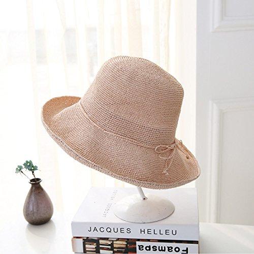 Chapeau De Paille D'été Big Eaves Beach Chapeau De Soleil Pliable Sun Hat A5
