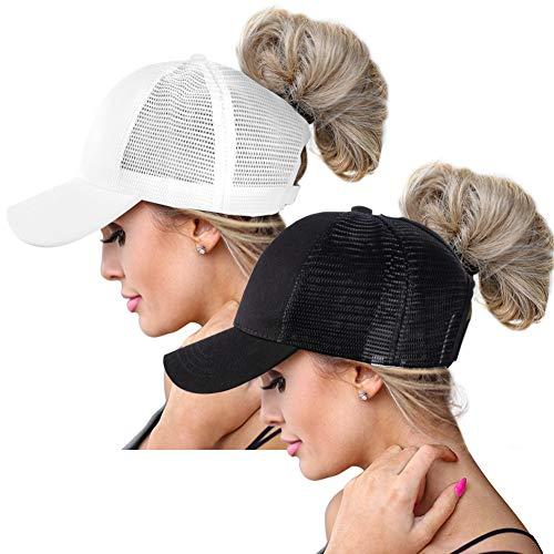 baccb78b ZOORON Ponytail Baseball Hats Cap for Women, Sun Messy High Bun Hat  Ponycaps Adjustable Cotton