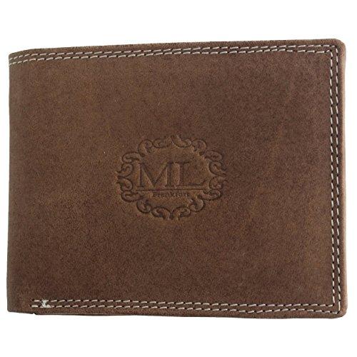 Monte Lovis Echtleder Portemonnaie aus Wildleder edle Konturnaht