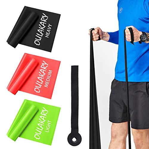 Oulakary Fitnessbänder 4er-Set 1.8M, Extra Lange Theraband Set Fitnessband Gymnastikband Widerstandsbänder mit 3-Stärken(Leicht, MIttel, Schwer Trainingsband für Yoga, Pilates, Reha, Physiotherapie