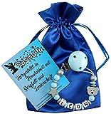 Personalisierte Schnullerkette mit Namen aus Holz für Jungen in Blau | verschiedene Designs verfügbar| perfektes Baby-Geschenk zur Geburt und Taufe (Design2)
