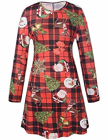 Frauen Mädchen Frauen lange Hülsen Sankt Weihnachtsbaum Weihnachtsgruß Druck angekleideter Swing Kleid Oberseite S rot