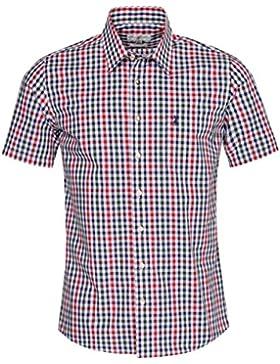 Almsach Kurzarm Trachtenhemd Erik Slim Fit mehrfarbig in Rot, Dunkelgrün und Dunkelblau inklusive Volksfestfinder