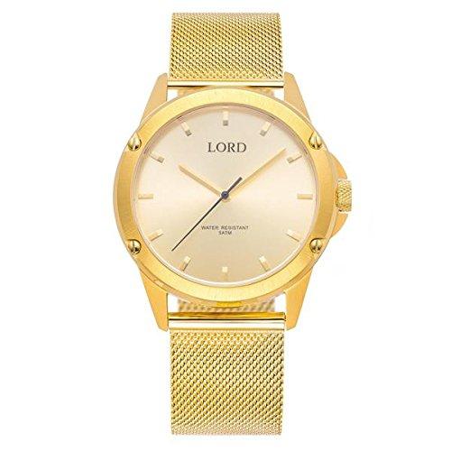 Lord Timepieces Luxus Herren Bolt Gold Watch - Gold Edelstahlband - 42mm Schweizer Quarzuhr