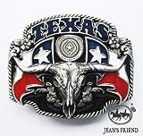 boucle mode Homme ceinture western homme country original cowboy Texas rouge blanc bleu taureau cornes