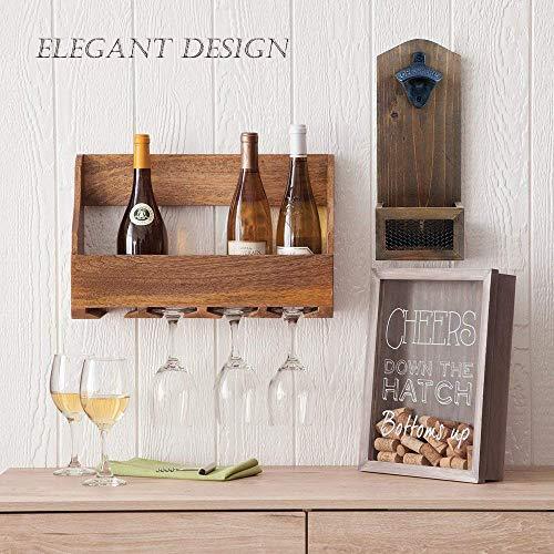 Flaschenöffner aus Holz, Wandmontage, mit Kapselfänger, ideales Geschenk für Bierliebhaber, Bar, Pub, Küche, Terrasse und Kabine -