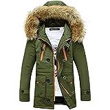 Winterjacke Herren Parka Gefüttert Baumwolle Mantel mit Pelzkragen Jacke Warm Outdoor Kapuzenjacke mit Fell, 02-Grün, Gr. XL