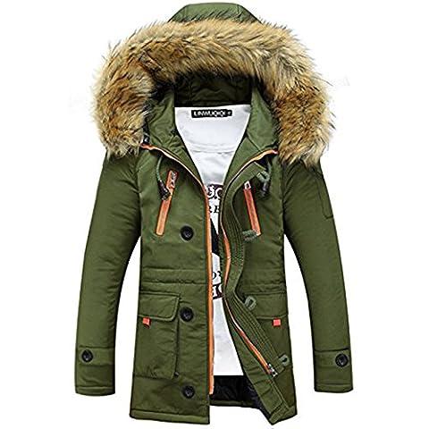 Winterjacke Herren Parka Gefüttert Baumwolle Mantel mit Pelzkragen Jacke Warm Outdoor Kapuzenjacke mit Fell