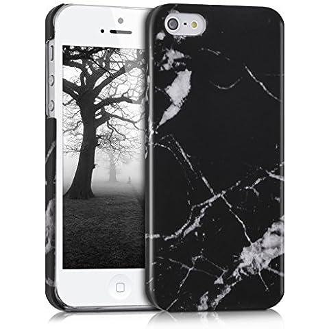 kwmobile Funda Hardcase Diseño mármol para Apple iPhone SE / 5 / 5S en negro blanco