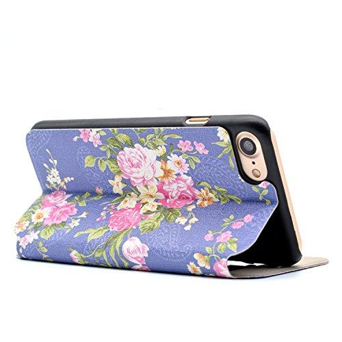 Voguecase® für Apple iPhone 7 hülle,(Bleistift) Sichtfenster Kunstleder Tasche PU Schutzhülle Tasche Leder Brieftasche Hülle Case Cover + Gratis Universal Eingabestift Lila / Bunt Blumen 01