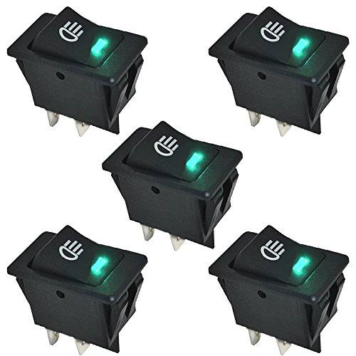 E Support™ 5 X KFZ Auto Boot Kippschalter Druckschalter Schalter 12V Grün LED Licht Nebelscheinwerfer