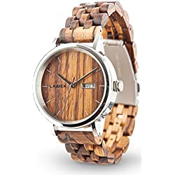 LAiMER Automatic Woodwatch ROBERTO | zebranowood combined with premium steel case | 100% natural product from South Tyrol | hypoallergenic, sustainable