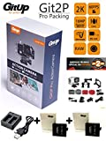 GITUP GIT2P PRO edition (Nuevo modelo 2017) + cargador doble + 2 BATERIAS EXTRA (aparte de la que incluye la cámara). Sensor Panasonic 2160P 24fps 1080p 60fps, WIFI, FOV 170º,120º, Panasonic MN34120PA 16MP, estabilizador imagen, Bateria 1000mha , sumergible 30M. ChipsetNovatek NTK96660, LCD 1.5'. ANDROGEEK es distribuidor autorizado GITUP ESPAÑA con 2 años de garantia oficial GITUP con SAT en España. Posibilidad entrega 24 horas.