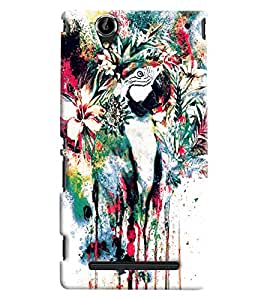 Blue Throat Flower Blow Paint Printed Designer Back Cover/Case For Sony Xperia T2