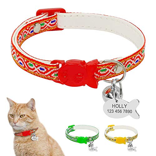 """Berry Breakaway Cat Collars with Bell - Custom Engraved Pet ID Tags With Nameplate - Personalized Nylon Cat Collars for Small Dogs Kitten Cats - Neck Adjustable 7.8-11.5"""""""