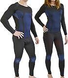 normani Sport Funktionswäsche Garnitur (Hose + Hemd) für Damen und Herren - Ski Unterwäsche mit Elasthan Farbe Blau Größe S/M