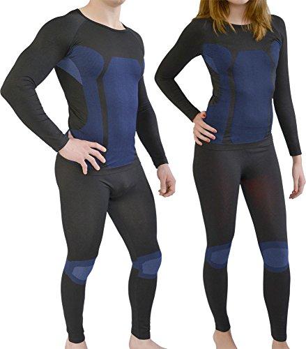 Sport Funktionswäsche Garnitur (Hose + Hemd) für Damen und Herren - Ski Unterwäsche mit Elasthan von normani® Schwarz/Blau