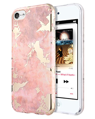 Dailylux iPod Touch 6/7 Hülle,iPod Touch 5 Hülle,Single Layer Ultradünne Anti-Scratch Flexible Weiche TPU Bumper PC Rückseite Hybrid Shockproof Cover für Apple iPod Touch 5/6/7th-Rosa Marmor -