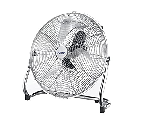 Futura 20 Inch Chrome High Velocity Floor Fan, Adjustable Heavy Duty 3 Speed Floor Standing Cooling Fan Ideal for the Gym