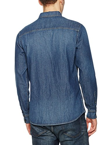 JACK & JONES VINTAGE Herren Freizeithemd Jjvsheridan Shirt L/S Western Noos Blau (Dark Blue Denim Fit:Slim)