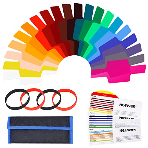 Neewer 20 Piezas Filtro de Gel kit Cámara Flash Speedlite Color Iluminación, Lámina de Corrección de Color Transparente Láminas de Plástico con 4 Ataduras y 1 Bolsa de Transporte para Fotografía Flash