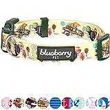 Blueberry Pet Traumhöhen Flugzeug & Heißluftballon Designer Hundehalsband in Zitrone-Chiffon, M, Hals 37cm-50cm