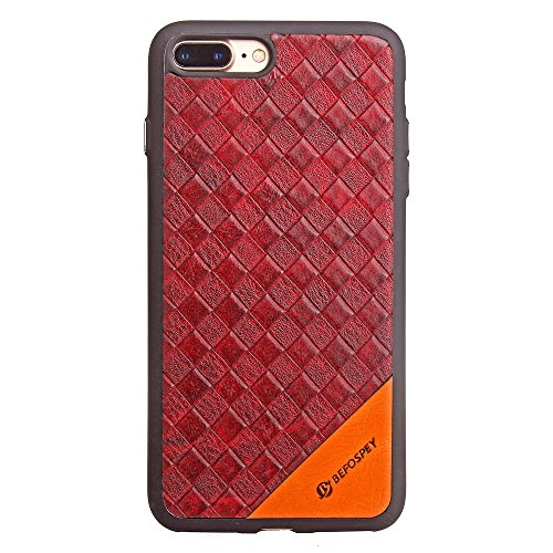 Frosted Weaving Texture Back Cover Soft Ultra Thin Slim Shell Cover Case mit Galvanisierungsknopf für iPhone 7 Plus ( Color : Black ) Red