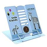 Leseständer ErgonomischeBuchstütze Verstellbarer Kochbuchständer Metall Buchständer für Bücher Tablets Buchhalter mit 6 Neigungsstufen Blau Buchaufsteller für Kinder Erwachsene