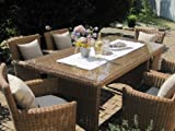 bomey Sitzgruppe Garten Garnitur Tisch und 6 Sessel/Stühle Rattan Polyrattan Geflecht Gartenmöbel...