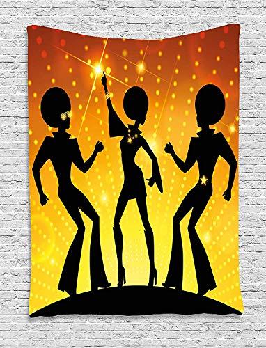 70er Jahre Party Tapisserie Tanzende Menschen in Disco Night Club mit Afro Haar Stil Bokh Hintergrund Wandbehang für Schlafzimmer Wohnzimmer Wohnzimmer Wohnzimmer Schlafzimmer Orange Gelb Schwarz