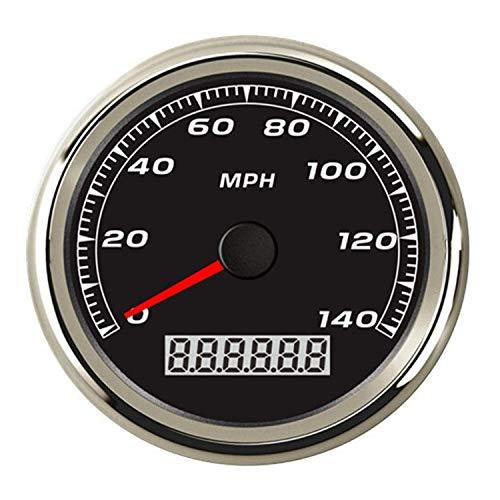 Easy Go Shopping Impermeabile, a Prova di Fulmine Tachimetro GPS Marine/Auto 140 mph 3-3/8'/ 85mm LED Rosso Chiaro, Nero / 316L SS Basso consumo energetico