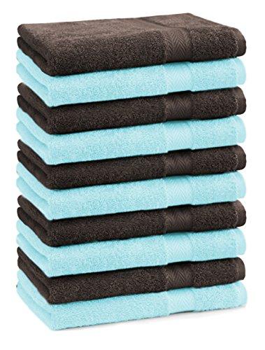 BETZ lot de 10 serviettes débarbouillettes taille 30x30 cm 100% coton Premium couleur turquoise et marron foncé