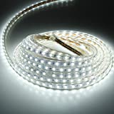 Liqoo® Abkürzbar 5m LED Streifen Strip 230V IP65 Wasserdicht Aussen Kaltweiß 6000K 40W Leiste Lichterkette 3000lm 5050 SMDs 60 LEDs/M mit Verbinder Halter