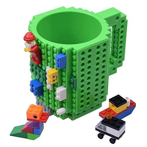 Kyonne Build-on Brick Mug, Tazza da Colazione, Idee Regalo per Natale Originali (verde)