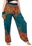 Lofbaz Mujer Smocked Cintura Rose 1 Flor Harén Pantalones Teal verde Size S