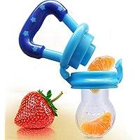 Tetine Grignoteuse Anneau d'Alimentation Bébé en Silicone Alimentaire avec Poignée et Protection pour Une Meilleure Transition entre Le Lait Maternel et La Nourriture Solide ou Les Fruits sans BPA Bleu
