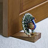 #6: Store Indya Decorative Wooden Door Stopper Doorstop Holder Hand Carved in a Peacock Shape Hardware Floor Blocker Closers Jammer Home Furniture Décor