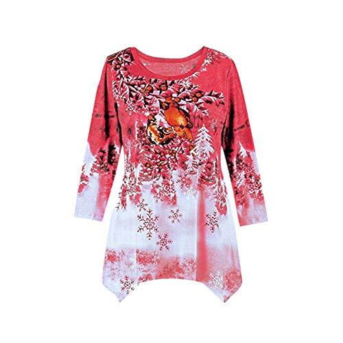 (SEWORLD Heißer Einzigartiges Design Mode Damen Frauen Frohe Weihnachten Langarm Weihnachtsdruck Unregelmäßiger Saum Sweatshirt Bluse(X2-rot,EU-40/CN-XL))