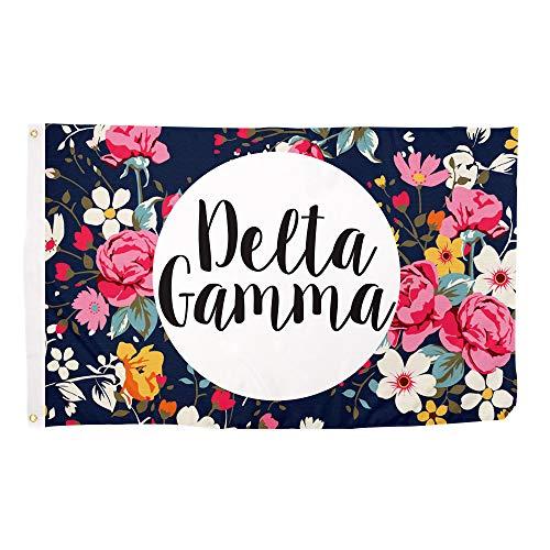 Delta Gamma Blumen Buchstabe Sorority Flagge griechischen Buchstaben Verwenden als großes Banner 3x 5Fuß Offizielles Lizenzprodukt Flaggen und Decor in offiziellen Farben von Griechisch Life Stuff -