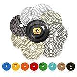 ZFE 7tlg 100mm Nass Haft-Polierscheiben Diamantpad Schleifpads Nasspolieren Marmor Granit Set-M14 thread