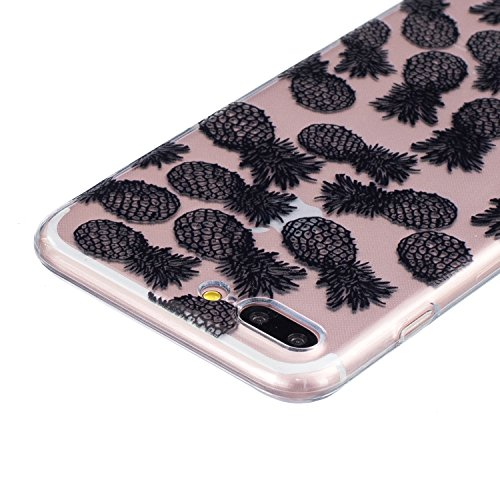 CaseHome iPhone 7 Plus 5.5'' Durchsichtig Silikon TPU Hülle Elegantes Stilvoll Hübsches Muster Druckte Entwurf (Mit freiem HD Schirm-Schutz) Gummi Silikongel Retro Klassiker Stoßstange Weicher Stoßdäm Dichtes Ananas