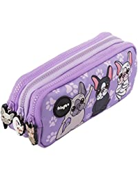 Estuche para lápices de 3 compartimentos FRINGOO, para niños, divertido y bonito, color French Dog Yoga - 3 Compartments Large