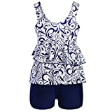 QingJiu Damen Plus Size Bikini Set Bademode Push-Up Gepolsterter Print Badeanzug (Blau, Small)