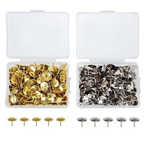 Zwei-ton-polsterung (400 Stück Thumb Tacks Reißnägel Reißzwecken Thumbtacks für Büro oder DIY, 10 mm Kopf, Silber und Messing Tone)
