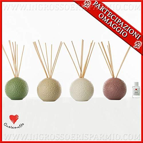 Ingrosso e risparmio cuorematto - diffusore d'essenze a forma di sfera colorata in porcellana decorata, bomboniere utili nozze, comunione, con scatola regalo inclusa (con confezione panna)