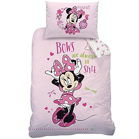 Disney minnie 043055 bows style parure de lit en coton renforcé avec housse de couette 140 x 200 et 70 x 90