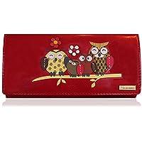 KukuBird Owl Family Tree Pattern Large Size Ladies Purse Clutch Wallet