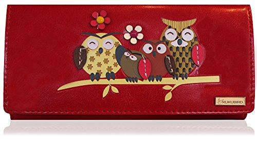 Kukubird Owl Family Tree Motif Grande Taille Femme à main d'embrayage Portefeuille 2 ROUGE